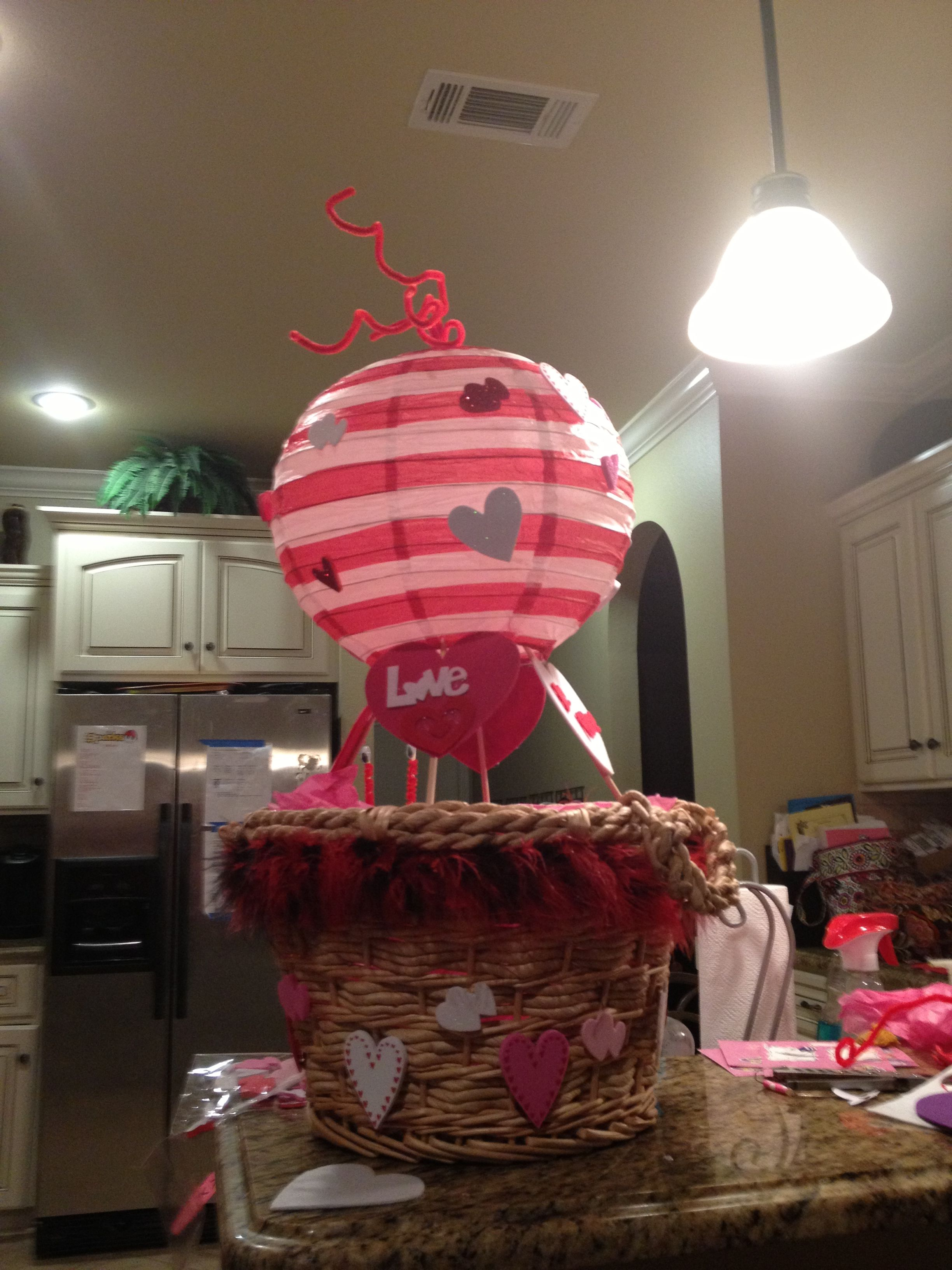 Hot air balloon valentine box Valentine box, Valentines diy