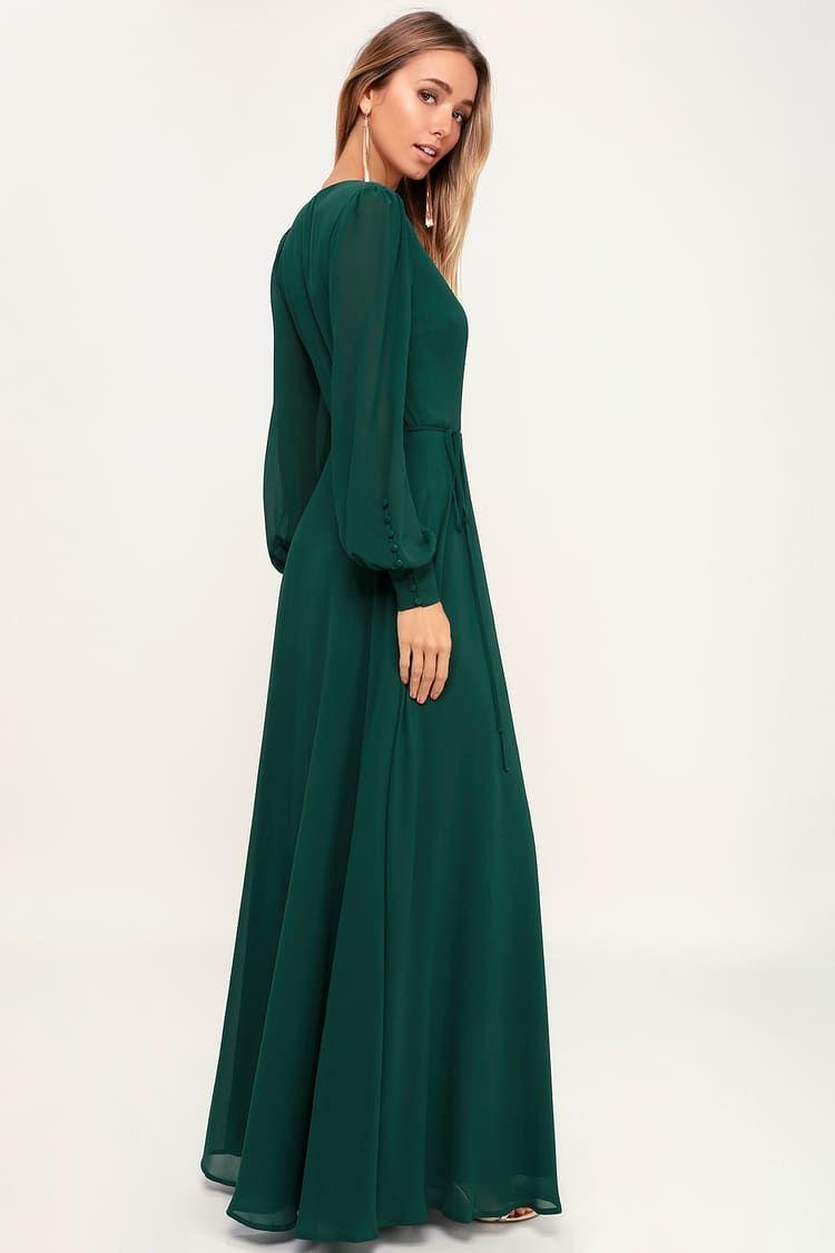 My Whole Heart Emerald Green Long Sleeve Wrap Dress In 2021 Long Sleeve Maxi Dress Long Green Dress Green Long Sleeve Dress [ 1125 x 750 Pixel ]