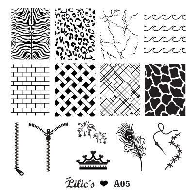Lilic's stamping plate A05 full nail small zebra cheetah skin thunder waves wall basket rhombus cow zipper crown firework peacock feather thread and needle stitch