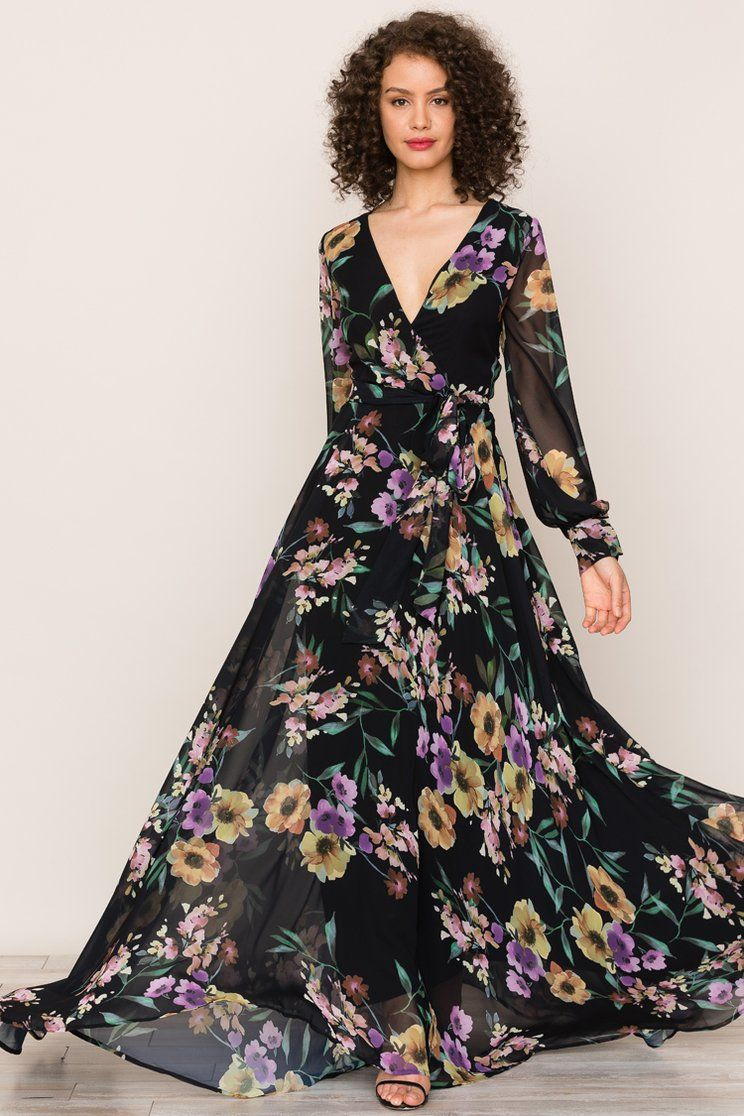 Meet The Elegant Flowing Silhouette Of Yumi Kim S Giselle Floral Maxi Dress Details Include Long Sleeve Maxi Dress Winter Maxi Dress Long Sleeve Floral Dress
