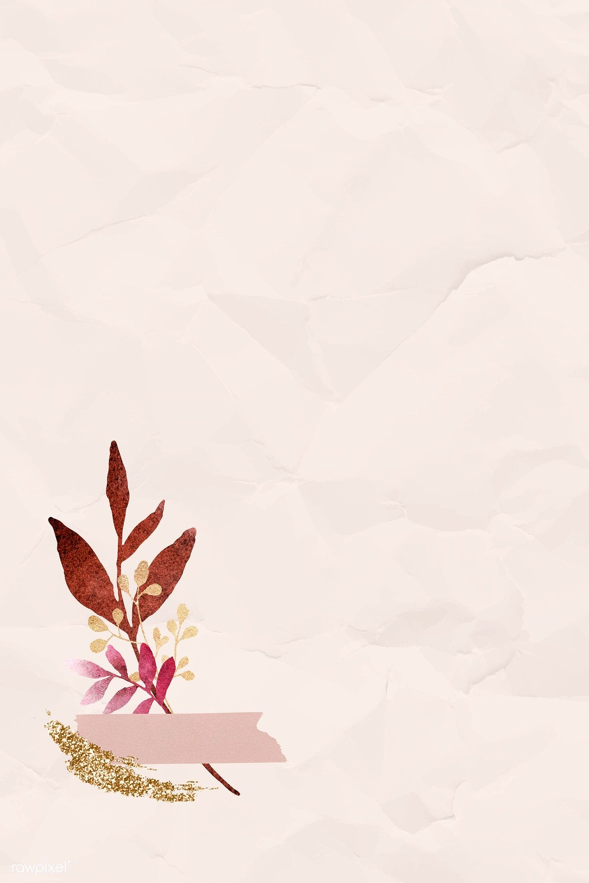 Download premium vector of Christmas watercolor leafy on beige  wrinkled