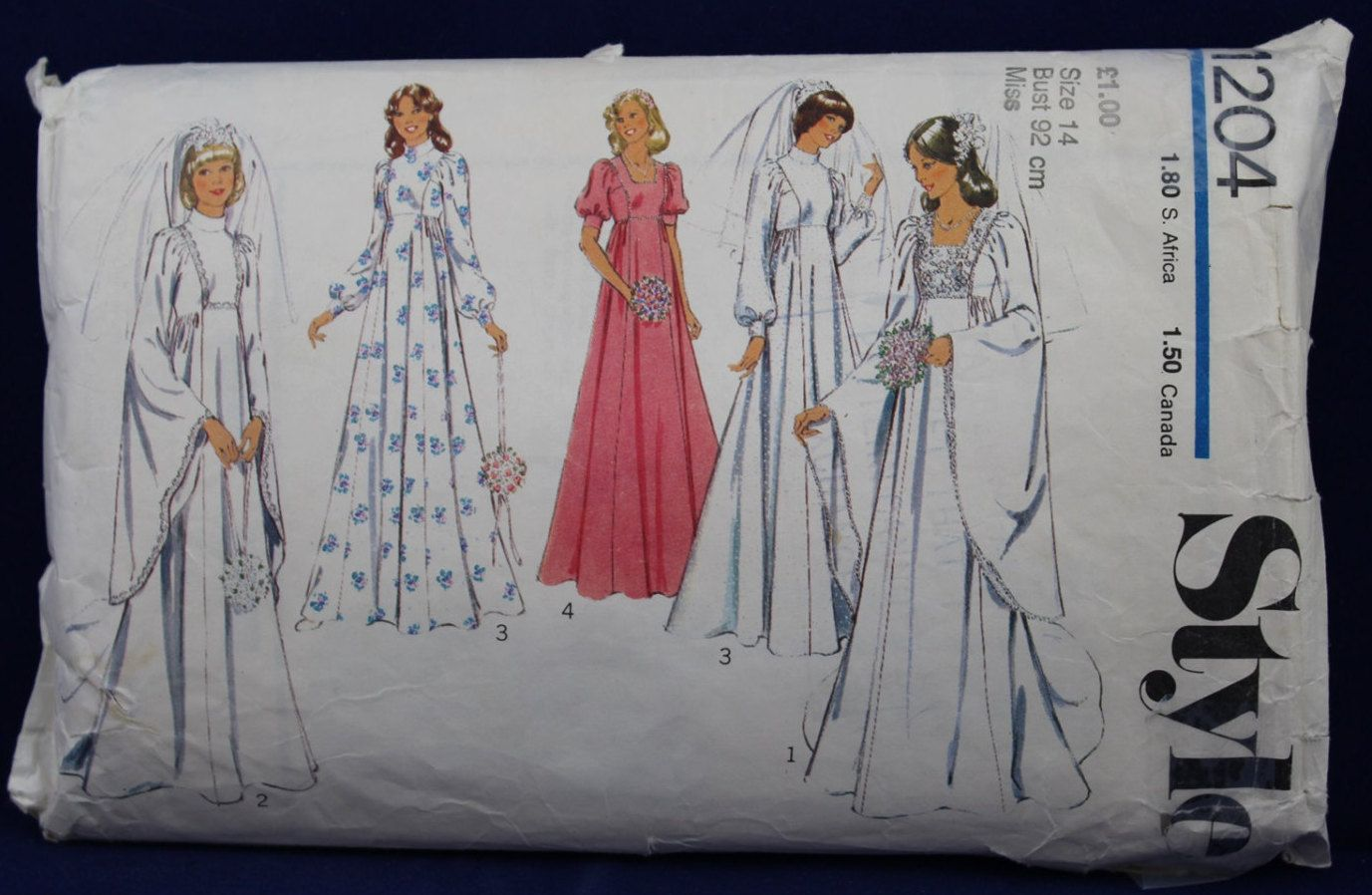 1970's Wedding and Bridesmaid Dress Sewing Pattern in Size