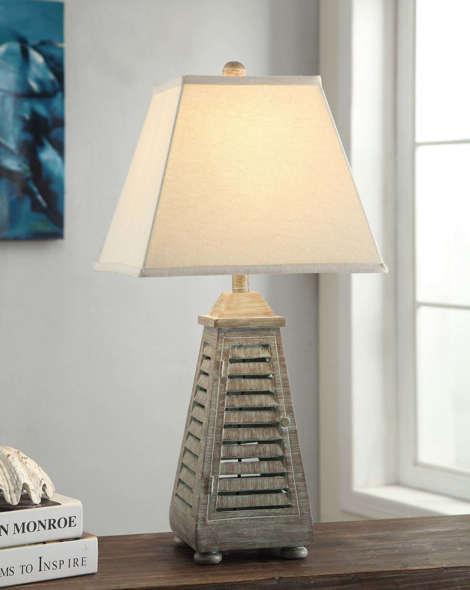and shade coastal nautical table you living can standing lamps shutter look lamp beach inspired