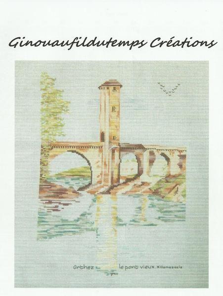 """grille pour point de croix """"le pont Vieux"""" Orthez de Ginouaufildutemps & brindelin sur DaWanda ..."""