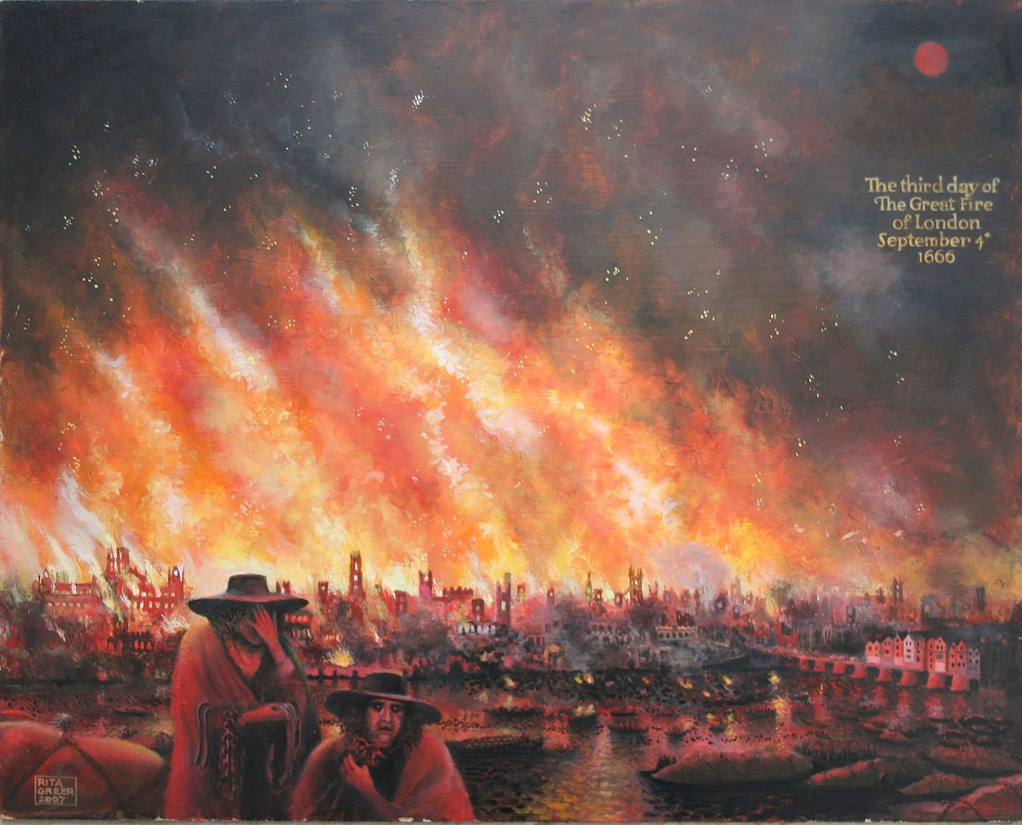 Image result for great fire of london painting