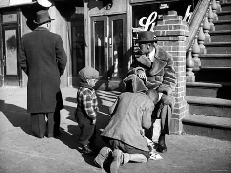 Photo of Harlem Street Scene Showing a Man Getting a Shoeshine as a Y…