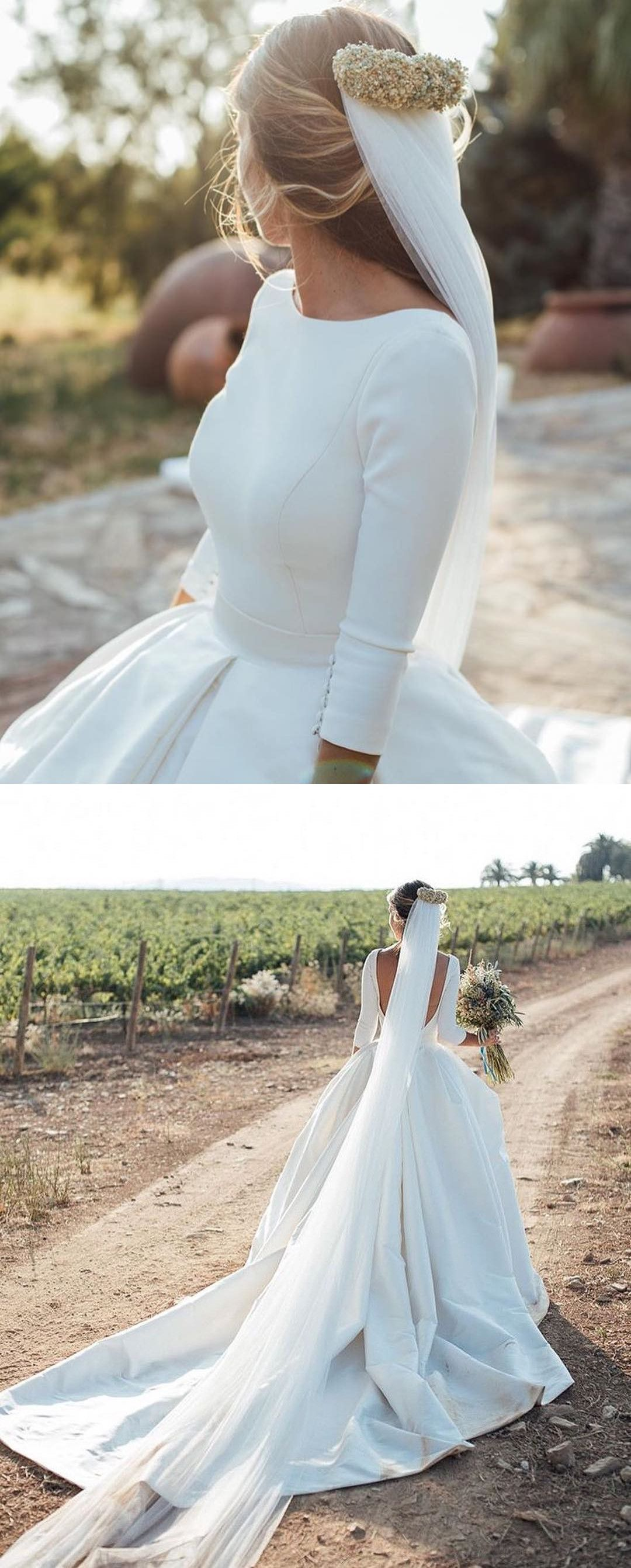 Classic Long Sleeves Ivory Bridal Gown in   Yourself