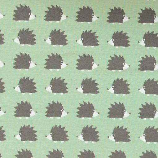 stretch jersey staubgr n mit igel stoff stil stoffe stoffe igel und stoffe zum n hen. Black Bedroom Furniture Sets. Home Design Ideas