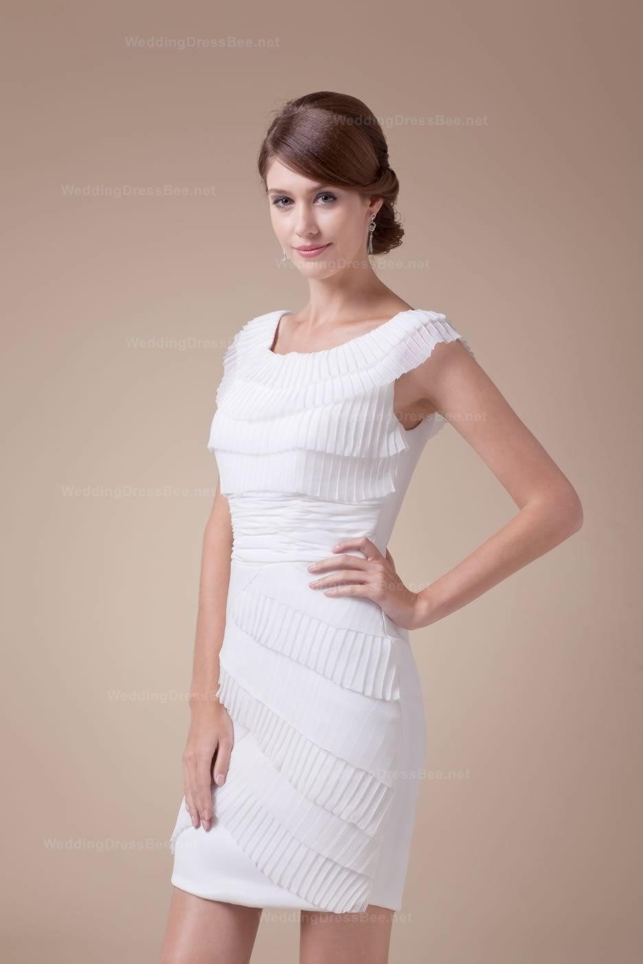 Silk sheath wedding dress  Lovely Scoop Neckline Capped Sleeves Short Sheath Dress With Ruffles