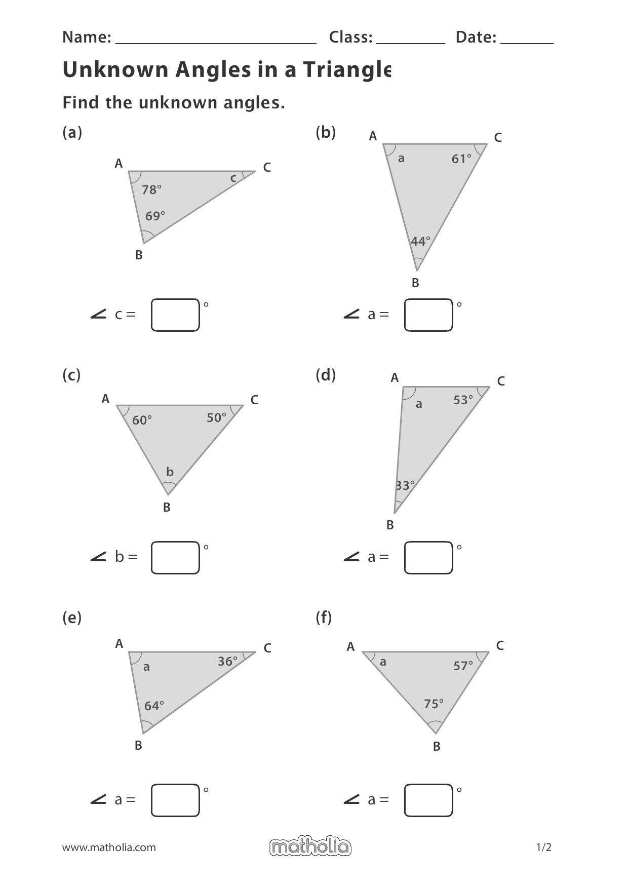 Unknown Angles In A Triangle In 2020 Play To Learn Printable Worksheets Division Worksheets