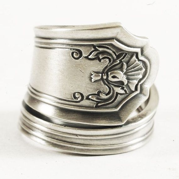 Antique Sterling Silver Spoon Ring 1912 Watson's Queen by Spoonier