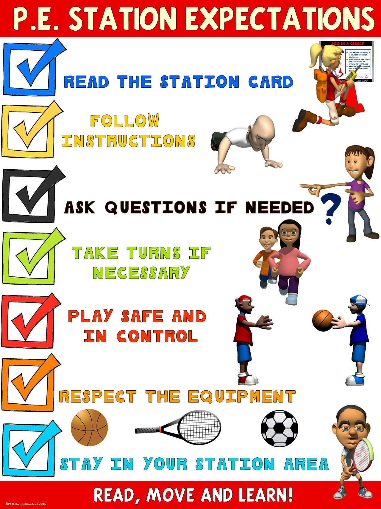 Pe Poster Station Expectations Middle And High School Version
