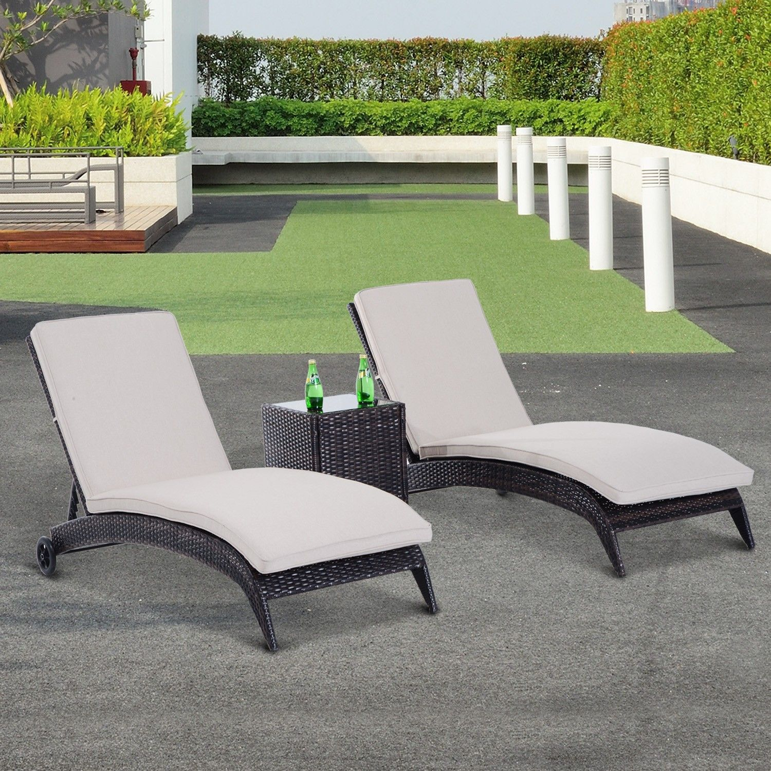 outsunny rattan lounger 3pc sun wicker patio day bed home garden reclining furniture seat brown