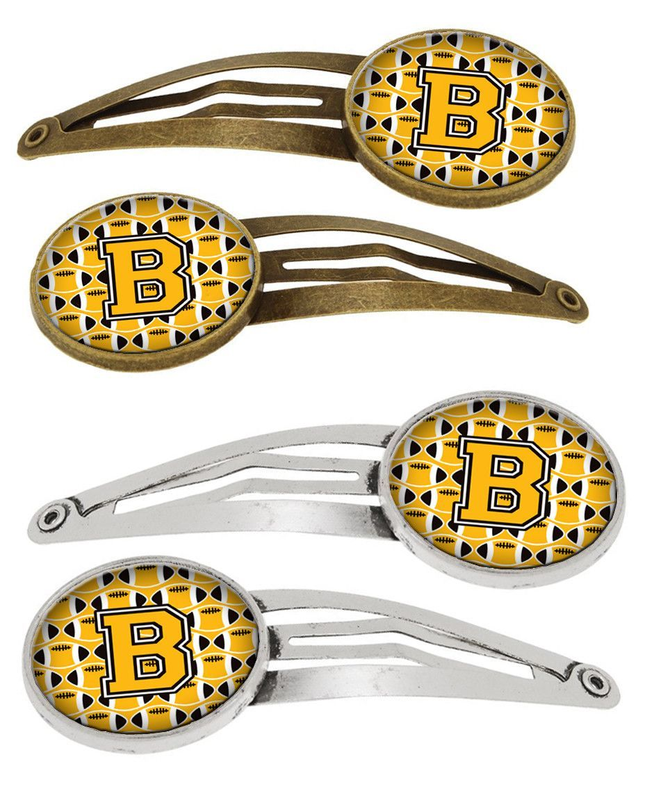 Letter B Football Black, Old Gold and White Set of 4 Barrettes Hair Clips CJ1080-BHCS4