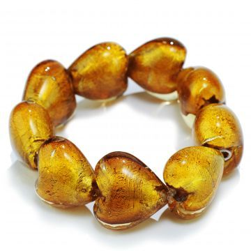 Murano style stretchy heart bracelet! Gorg!