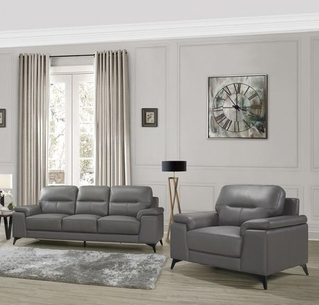 Topline Home Furnishings Dark Grey Leather Sofa Chair Set Dark Gre Leather Couches Living Room Grey Leather Living Room Furniture Grey Leather Sofa Living Room Living room grey leather sofa