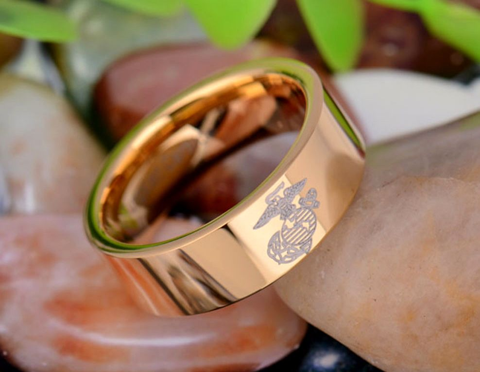 A Tribute To The Men And Women Of Our Armed Forces The Military Laser Design Features The Emblem Of Usmc Ring Military Jewelry Tungsten Carbide Wedding Rings