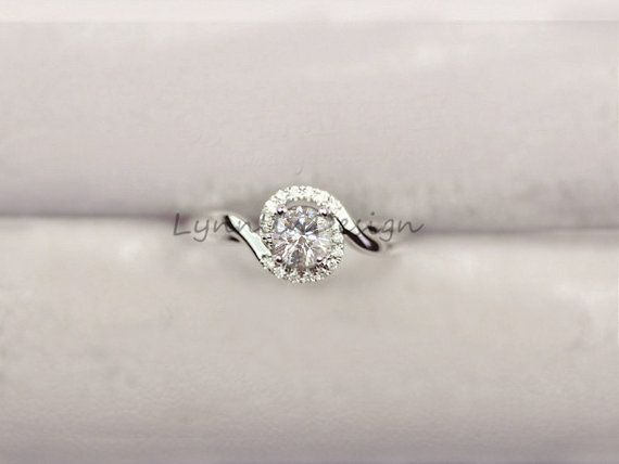 14K white Gold Ring 0.5ct FB Moissanite Ring by LynnLinDesign