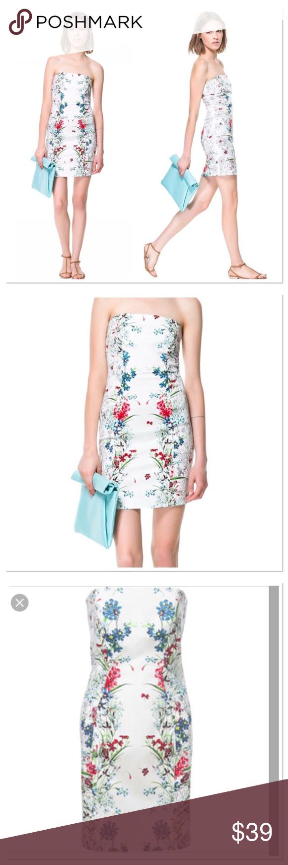 Zara Basic floral print strapless bodycon
