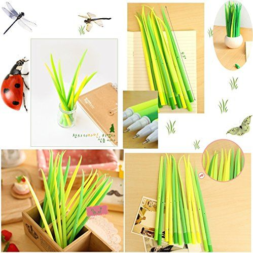 BUOP Extra Fine Black Gel Ink Pen, Forest Green Grass Leaf Novelty Design Grass Pen, Glass Blade, Grass Leaf Shaped Rollerball Pens, Creative Stationery Gift, Dozen (12) Box BU http://smile.amazon.com/dp/B013JWCP8A/ref=cm_sw_r_pi_dp_ULo5vb1PCP7M4