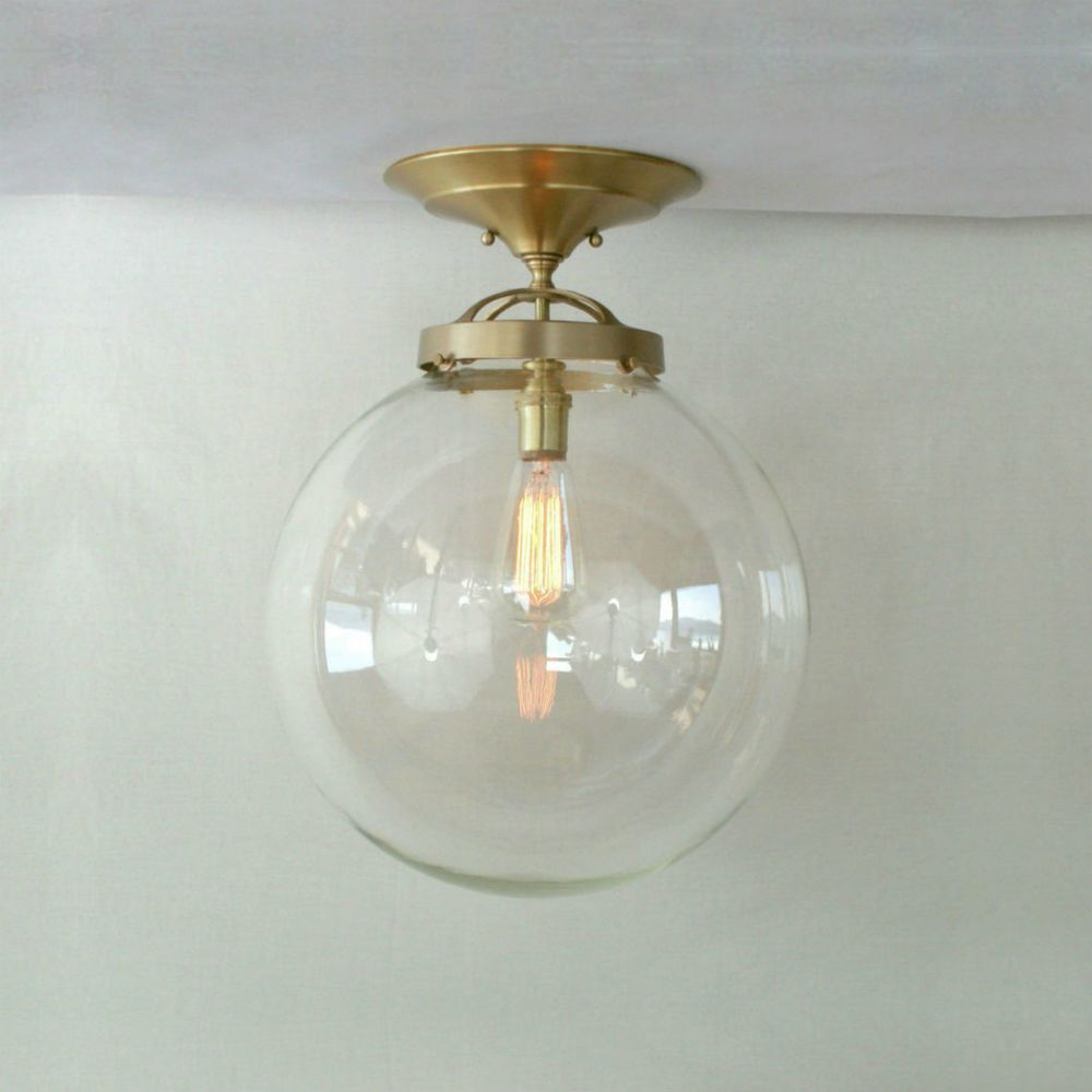 Modern vintage 14 globe semi flush pendant light globe pendant semi flush clear globe pendant light classic semi flush mount pendant with an impressive clear glass globe very jules verne beautifully m aloadofball Gallery