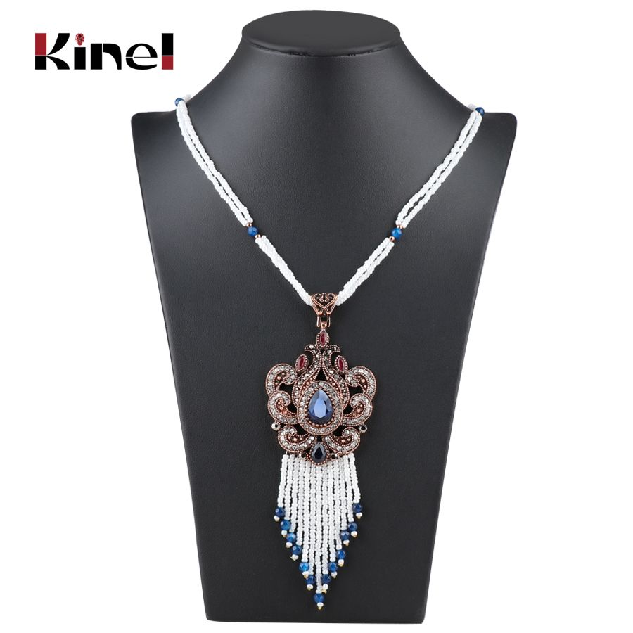 Bohemia tassel pendant necklace vintage jewerly gold color hand