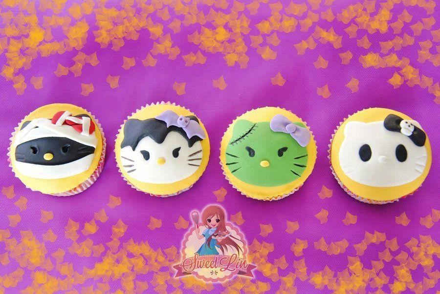 Hello Kitty Halloween Cupcake - by SweetLin @ CakesDecor - cake - hello kitty halloween decorations