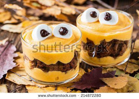 Halloween treats, little monster dessert with chocolate cookies and - halloween baked goods ideas