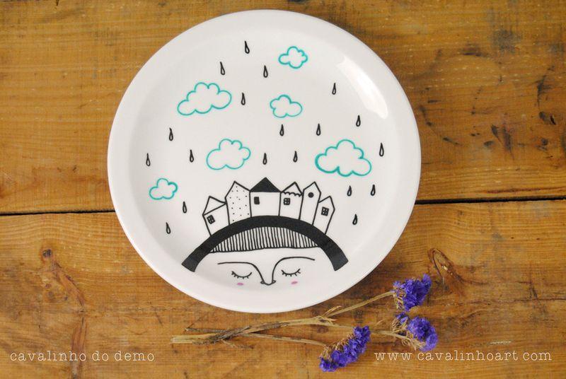 Plato decorativo de Cavalinho do demo Artesanía ilustrada por DaWanda.com