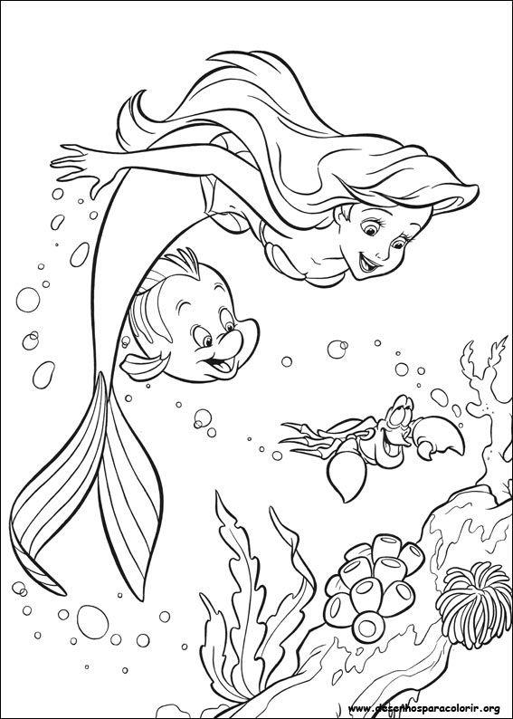 Desenho Para Imprimir Com Imagens Sereias Para Colorir