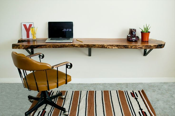 Diy Floating Desk Reclaimed Live Edge Floating Desk Live Edge Wood Desk Home Office Furniture Floating Desk