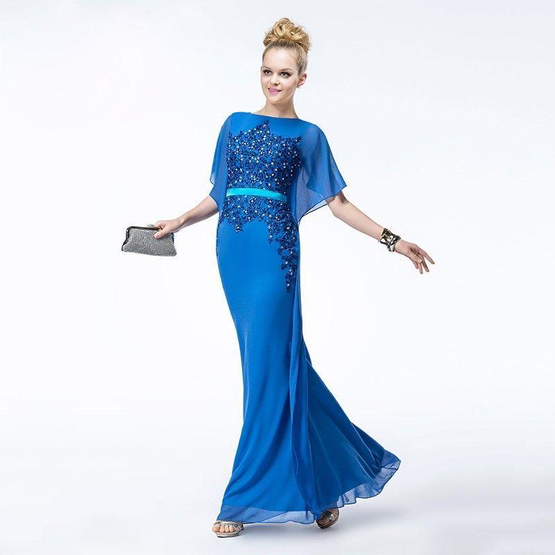 Fledermaus Ärmel Cocktailkleid 2019 Blau | Cocktailkleid ...