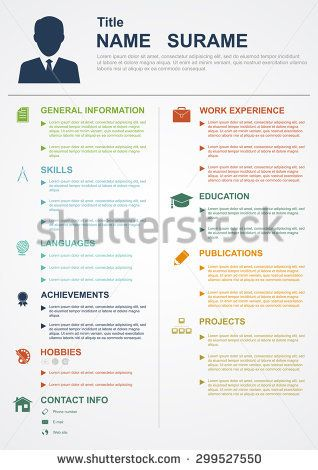 infographic template with icons for cv, personal profile, resume - profile on resume