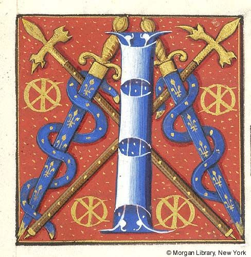 Initial I flanked by two sheathed swords entwined with straps, all blue with gold fleur-de-lis, and by four monograms of Claude Gouffier, Phi Chi | Book of Hours | France, Paris | between 1550 and 1558 | The Morgan Library & Museum