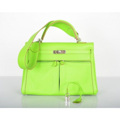 cad004b3a529 Hermes Granny Bright Green Swift 35cm Kelly Lakis Bag Palladium Hardware