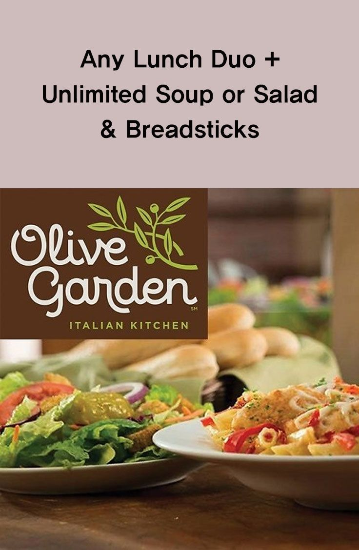 Any Lunch Duo + Unlimited Soup or Salad & Breadsticks #lunch #soup ...