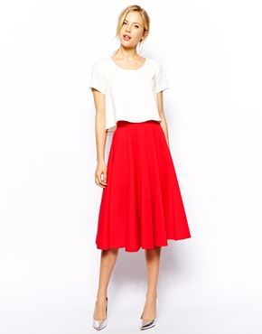 red midi skirt   white tee | style. | Pinterest | Red skater skirt ...