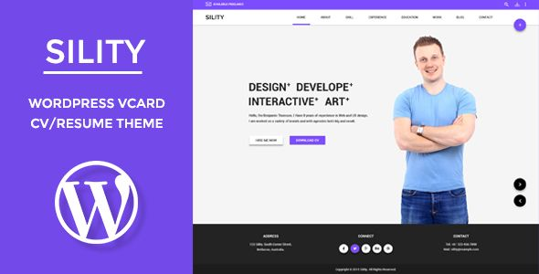 Wordpress Resume Theme Sility  Vcard Cv & Resume WordPress Theme  WordPress Template .