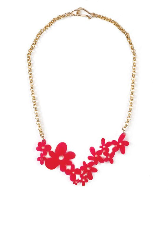 Red Statement Necklace Plexiglass Flower Necklace Holiday Gift Red Flowers Whimsical Neckla Red Necklace Statement Whimsical Necklace Flower Charm Necklace
