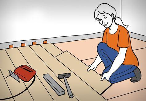 Heimwerkerin Verlegt Klick Laminat Neben Ihr Liegen Hammer Holzlatte Und Stichsage