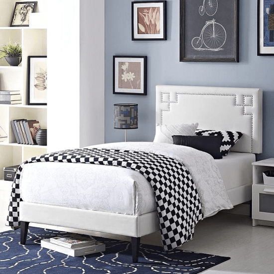 Kerley Upholstered Platform Bed in White Beds by Everly