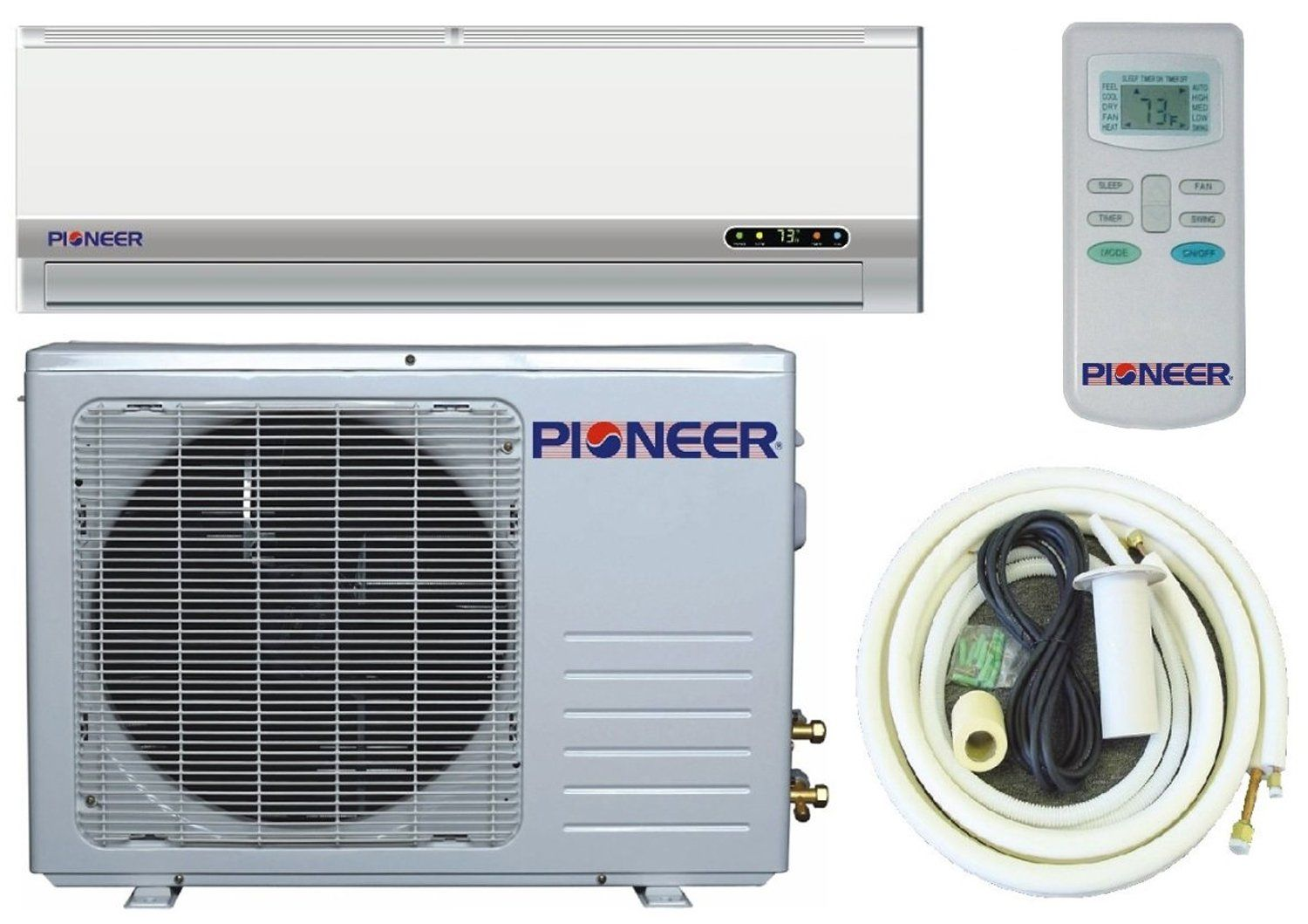 Pioneer Ductless Mini Split Air Conditioner Heat Pump 12000 Btu 1 Ton 13 Seer Cooling Heating Dehumidific Heat Pump Ductless Mini Split Air Conditioner
