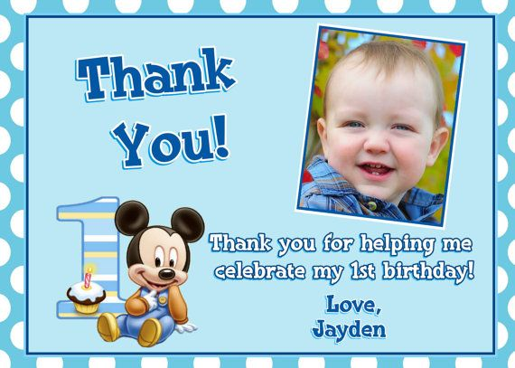 Mickey Mouse 1st Birthday Thank You Cards Mickey Mouse 1st Birthday Birthday Thank You Cards 1st Birthday