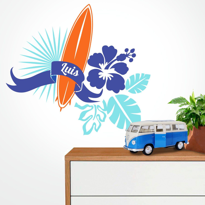 Vinilo surf para pared ideas de decoraci n surfera habitaci n infantil y juvenil http - Decoracion surfera ...