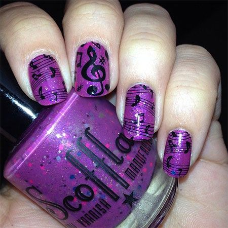 I am unfolding amazing music notes nail art designs, ideas and trends of  Make cute and awesome music notation signs on your nails no matter how  small or - Purple With Music Notes :D Nails Pinterest Music Notes And