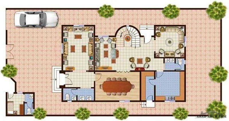 تصميم فيلا مرتب Arab Arch Home Design Floor Plans New House Plans Home Building Design
