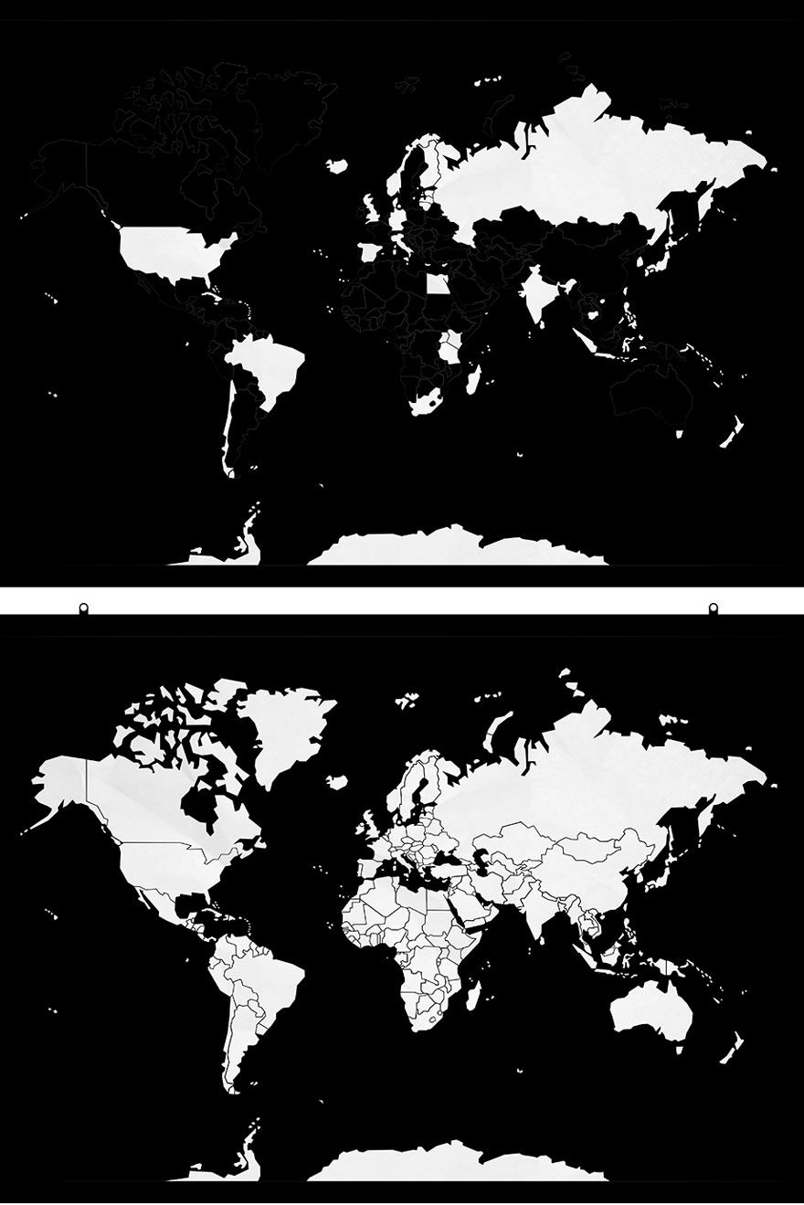 Minimalist world map helps keep track of countries youve visited minimalist world map helps keep track of countries youve visited bored panda gumiabroncs Images