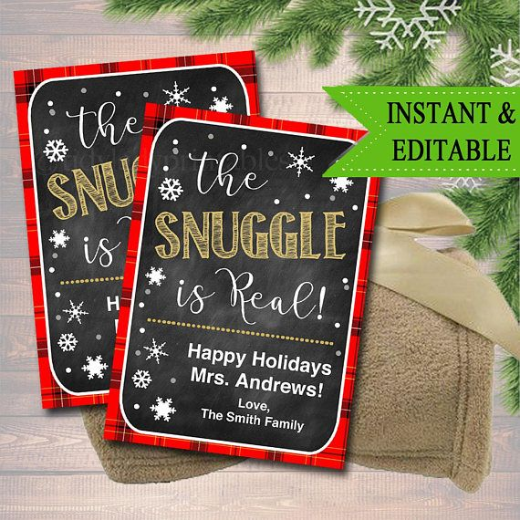 Editable The Snuggle Is Real Christmas Gift Tags Secret The