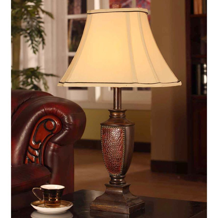 Crafted with a brushed red finish this extravagant table lamp is k and b furniture co inc antique brushed red table lamp set of brushed red lamps brown resin geotapseo Gallery