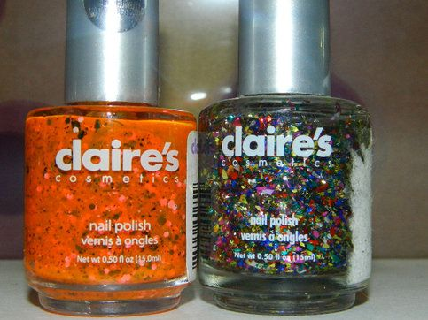 set of 2 claire\'s nail polish 1- new - pop art, pink glitter neon ...